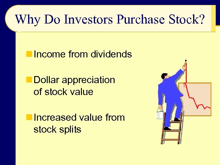 Why Do Investors Purchase Stock? n Income from dividends n Dollar appreciation of stock