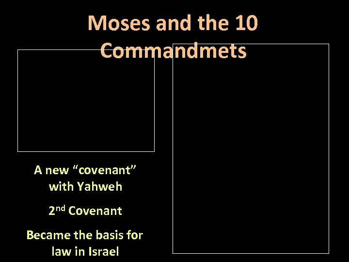 """Moses and the 10 Commandmets A new """"covenant"""" with Yahweh 2 nd Covenant Became"""