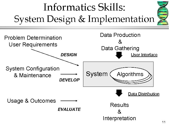 Informatics Skills: System Design & Implementation Problem Determination User Requirements Data Production & Data