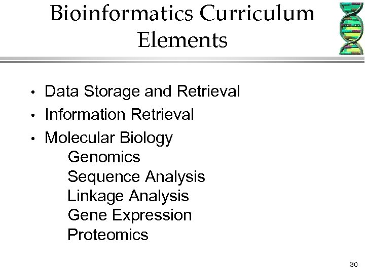 Bioinformatics Curriculum Elements • • • Data Storage and Retrieval Information Retrieval Molecular Biology