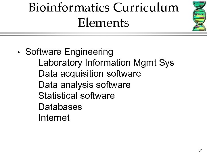 Bioinformatics Curriculum Elements • Software Engineering Laboratory Information Mgmt Sys Data acquisition software Data
