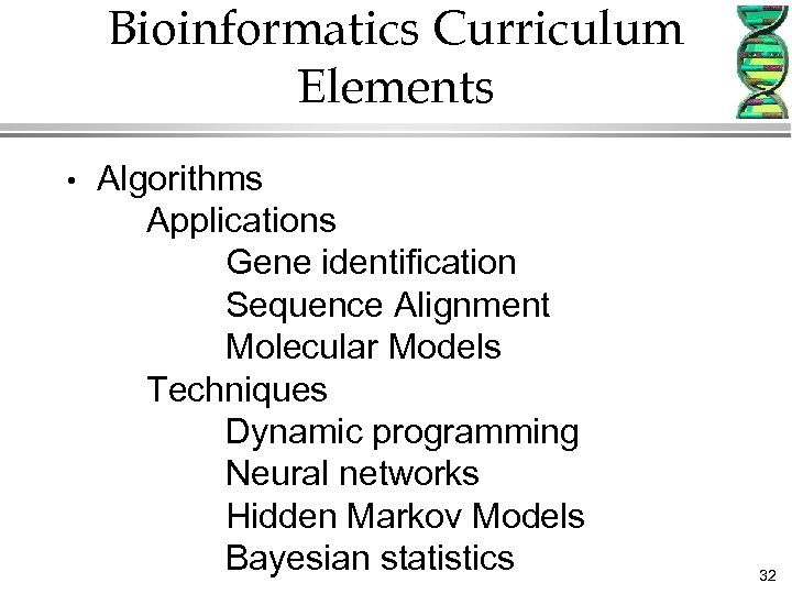 Bioinformatics Curriculum Elements • Algorithms Applications Gene identification Sequence Alignment Molecular Models Techniques Dynamic