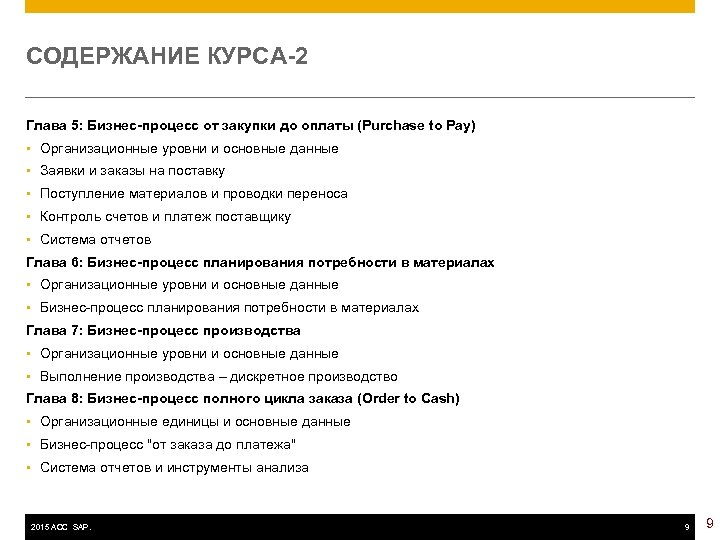 СОДЕРЖАНИЕ КУРСА-2 Глава 5: Бизнес-процесс от закупки до оплаты (Purchase to Pay) • Организационные