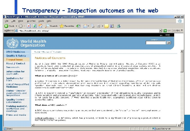 Transparency – Inspection outcomes on the web Department of Medicines Policy and Standards, Health
