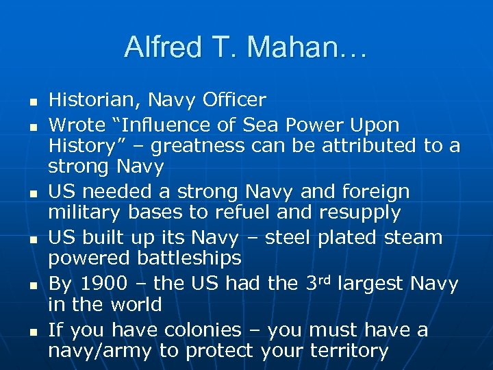 "Alfred T. Mahan… n n n Historian, Navy Officer Wrote ""Influence of Sea Power"