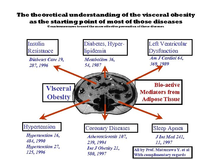 The theoretical understanding of the visceral obesity as the starting point of most of
