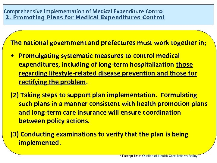 Comprehensive Implementation of Medical Expenditure Control 2. Promoting Plans for Medical Expenditures Control The