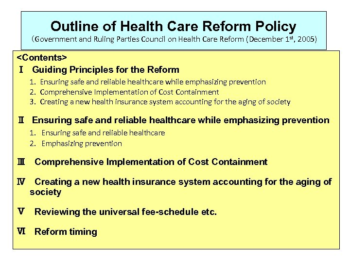 Outline of Health Care Reform Policy (Government and Ruling Parties Council on Health Care
