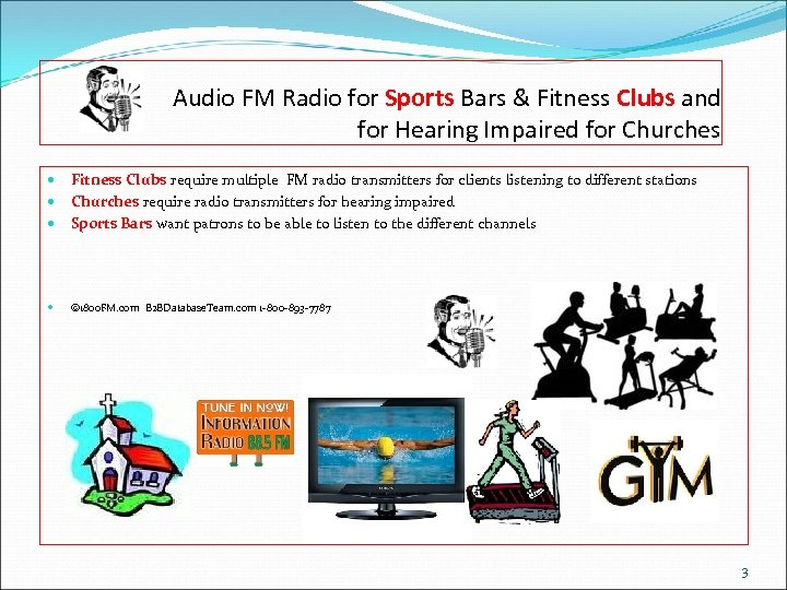 Audio FM Radio for Sports Bars & Fitness Clubs and for Hearing Impaired for