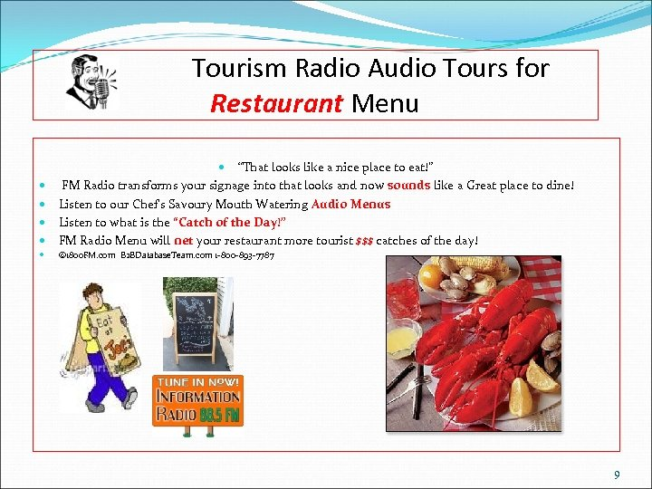 "Tourism Radio Audio Tours for Restaurant Menu ""That looks like a nice place to"