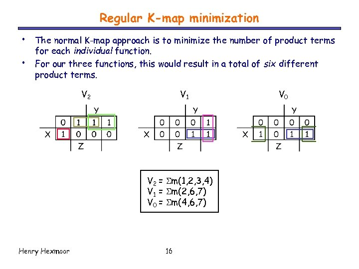 Regular K-map minimization • • The normal K-map approach is to minimize the number