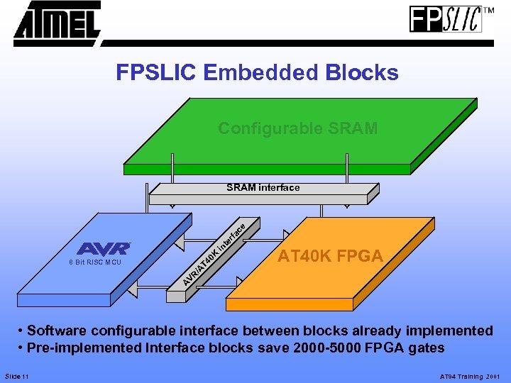 FPSLIC Embedded Blocks Configurable SRAM T 4 0 K in te r fa ce