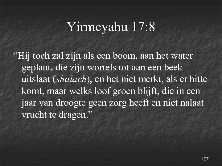 """Yirmeyahu 17: 8 """"Hij toch zal zijn als een boom, aan het water geplant,"""