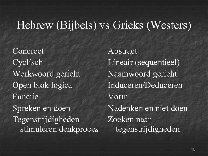 Hebrew (Bijbels) vs Grieks (Westers) Concreet Abstract Cyclisch Lineair (sequentieel) Werkwoord gericht Naamwoord gericht