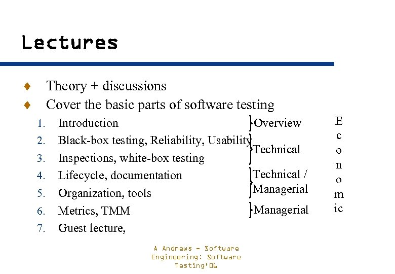 Lectures ¨ Theory + discussions ¨ Cover the basic parts of software testing 1.