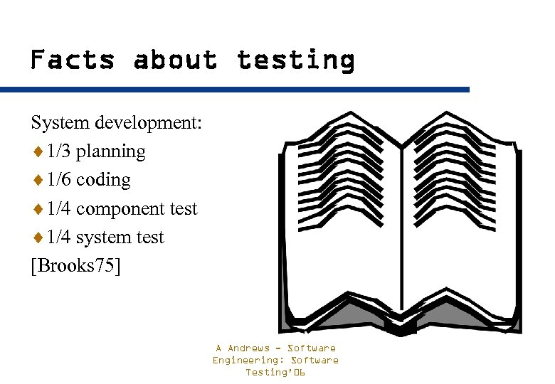 Facts about testing System development: ¨ 1/3 planning ¨ 1/6 coding ¨ 1/4 component