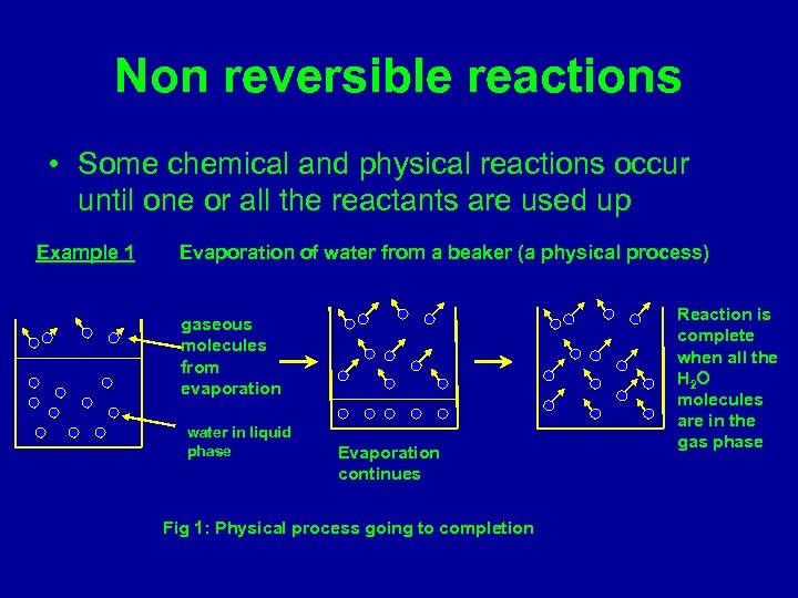 Non reversible reactions • Some chemical and physical reactions occur until one or all
