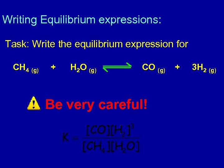 Writing Equilibrium expressions: Task: Write the equilibrium expression for CH 4 (g) + H