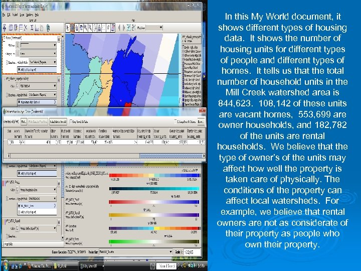 In this My World document, it shows different types of housing data. It shows