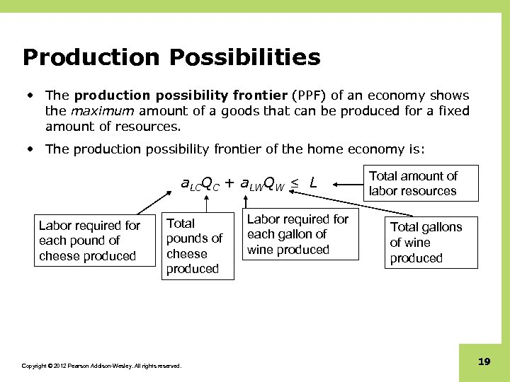 Production Possibilities • The production possibility frontier (PPF) of an economy shows the maximum