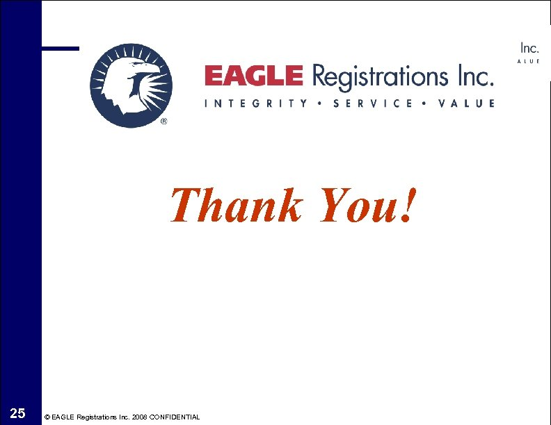 Thank You! 25 © EAGLE Registrations Inc. 2008 CONFIDENTIAL
