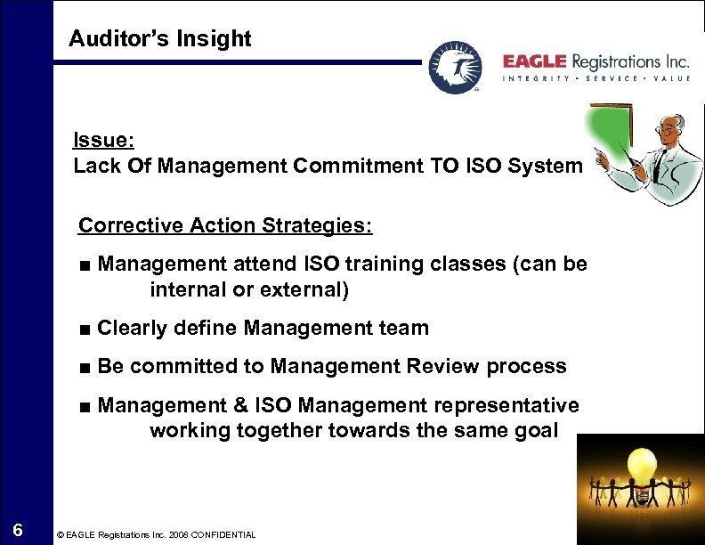 Auditor's Insight Issue: Lack Of Management Commitment TO ISO System Corrective Action Strategies: ■