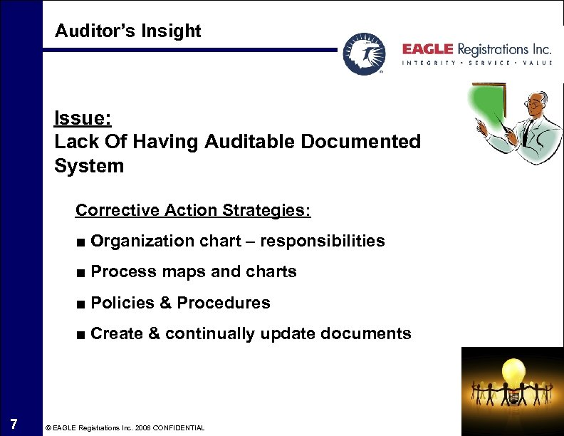 Auditor's Insight Issue: Lack Of Having Auditable Documented System Corrective Action Strategies: ■ Organization