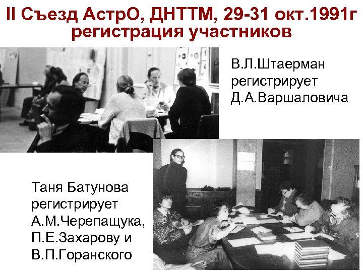 II Съезд Астр. О, ДНТТМ, 29 -31 окт. 1991 г регистрация участников В. Л.