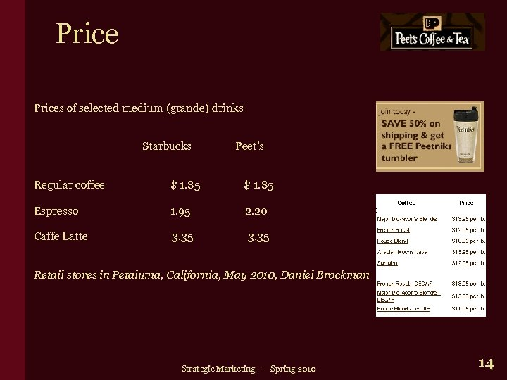 Prices of selected medium (grande) drinks Starbucks Peet's Regular coffee $ 1. 85 Espresso