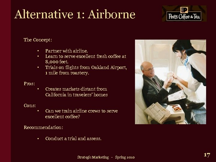 Alternative 1: Airborne The Concept: • • • Pros: Cons: Partner with airline. Learn
