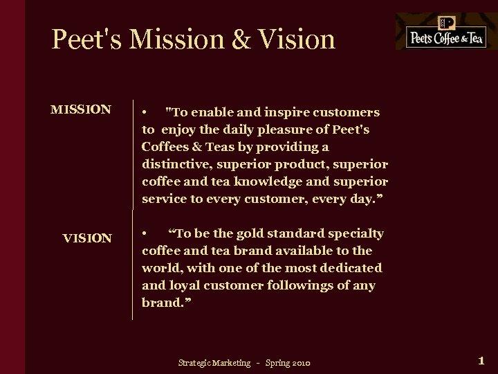 Peet's Mission & Vision MISSION VISION •