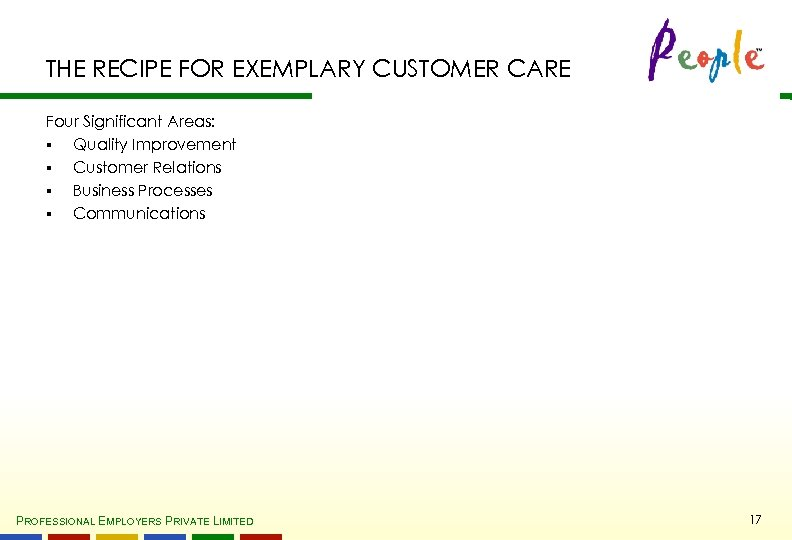 THE RECIPE FOR EXEMPLARY CUSTOMER CARE Four Significant Areas: § Quality Improvement § Customer