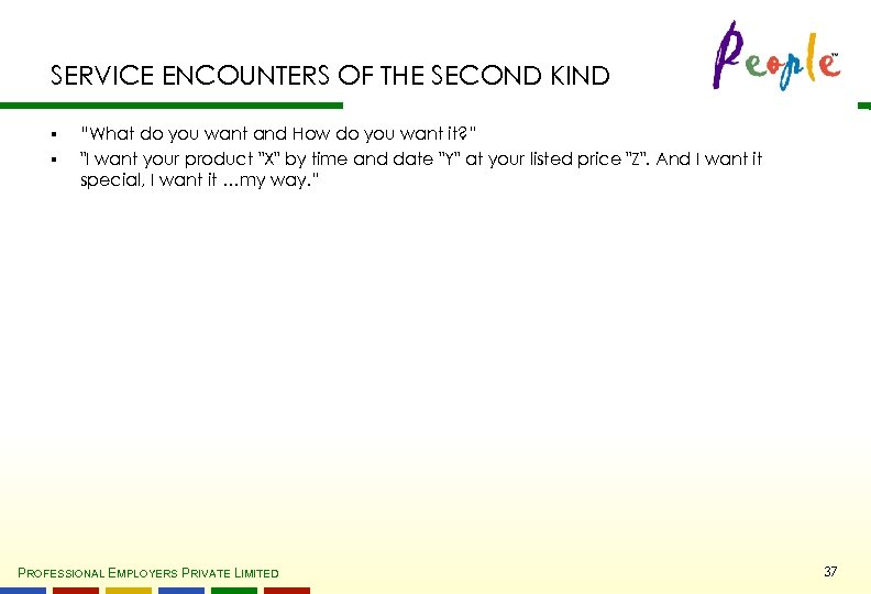 """SERVICE ENCOUNTERS OF THE SECOND KIND § § """"What do you want and How"""