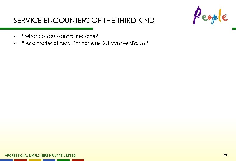 SERVICE ENCOUNTERS OF THE THIRD KIND § § ' What do You Want to