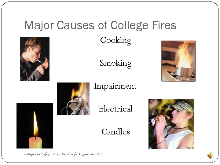 Major Causes of College Fires Cooking Smoking Impairment Electrical Candles College Fire Safety: Fire