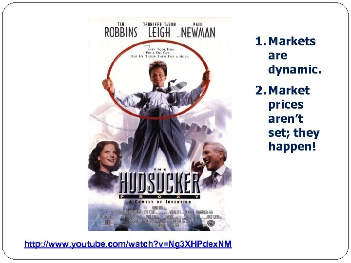 1. Markets are dynamic. 2. Market prices aren't set; they happen! http: //www. youtube.