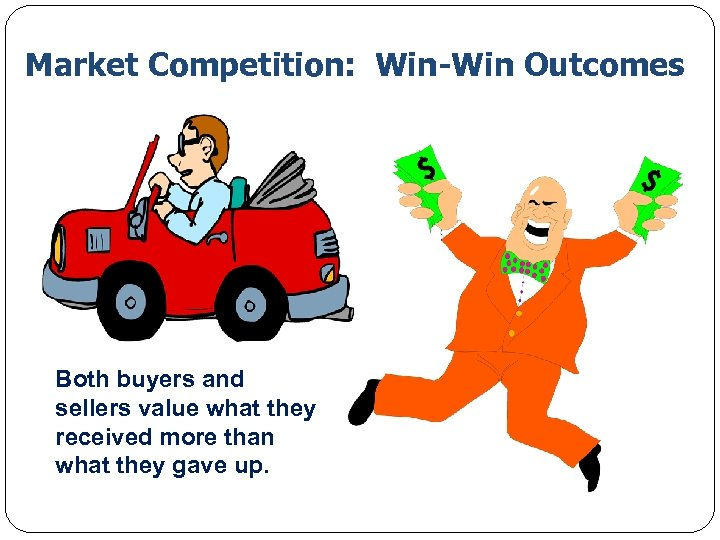 Market Competition: Win-Win Outcomes Both buyers and sellers value what they received more than