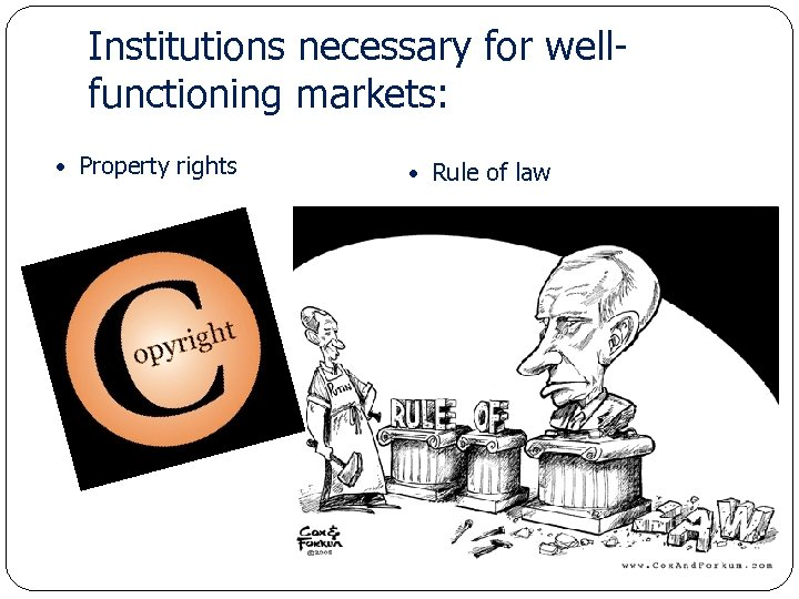 Institutions necessary for wellfunctioning markets: Property rights Economics for Leaders Rule of law