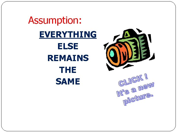 Assumption: EVERYTHING ELSE REMAINS THE SAME Economics for Leaders