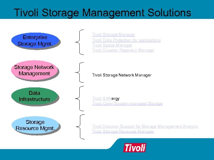 Tivoli Storage Management Solutions Enterprise Storage Mgmt. Storage Network Management Data Infrastructure Storage Resource