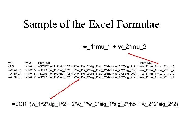Sample of the Excel Formulae