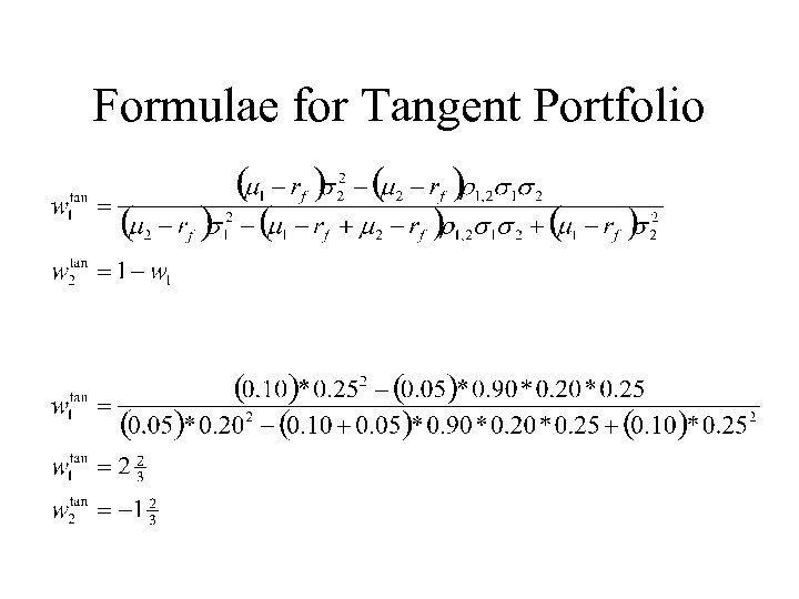 Formulae for Tangent Portfolio