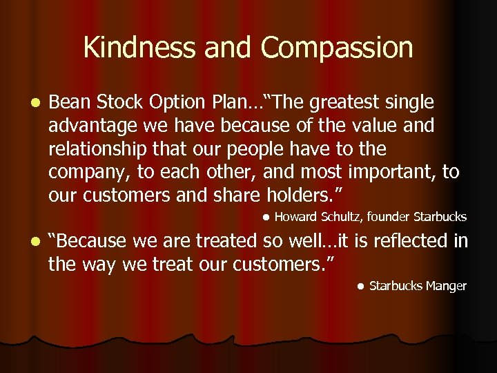"Kindness and Compassion l Bean Stock Option Plan…""The greatest single advantage we have because"