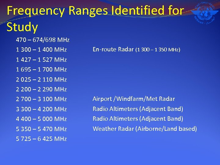 Frequency Ranges Identified for Study 470 – 674/698 MHz 1 300 – 1 400