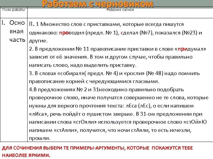 План работы Работаем с черновиком Рабочие записи I. Осно II. 1 Множество слов с