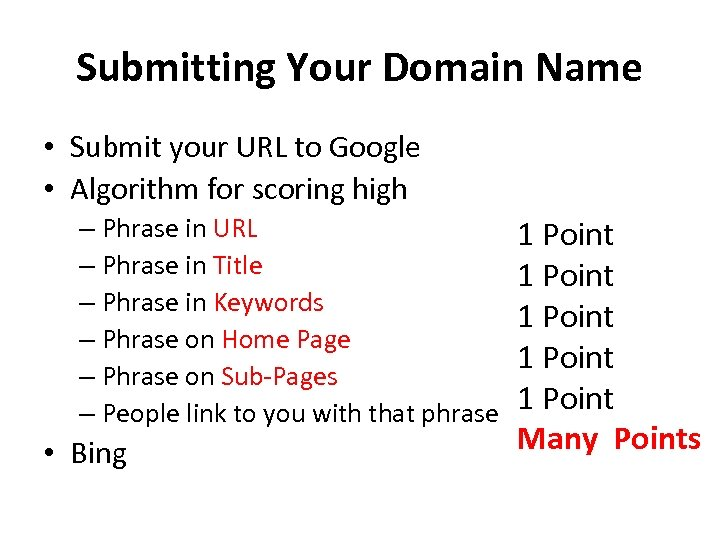 Submitting Your Domain Name • Submit your URL to Google • Algorithm for scoring