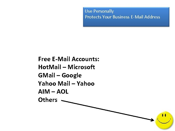 Use Personally Protects Your Business E-Mail Address Free E-Mail Accounts: Hot. Mail – Microsoft