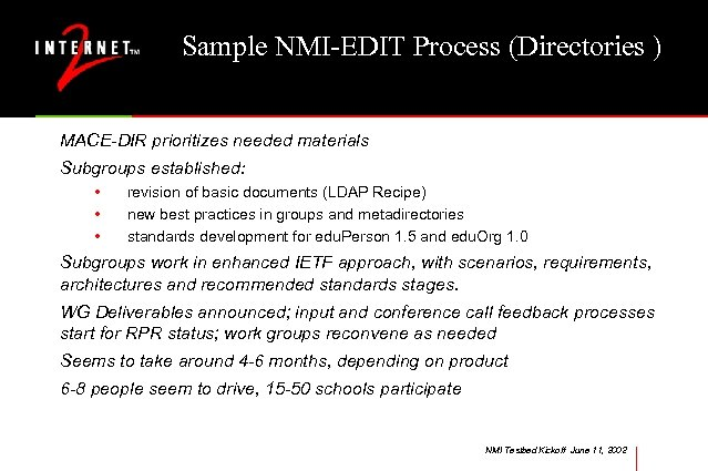 Sample NMI-EDIT Process (Directories ) MACE-DIR prioritizes needed materials Subgroups established: • • •
