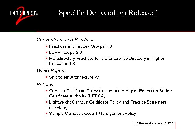 Specific Deliverables Release 1 Conventions and Practices • Practices in Directory Groups 1. 0