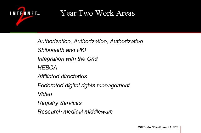 Year Two Work Areas Authorization, Authorization Shibboleth and PKI Integration with the Grid HEBCA